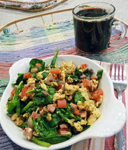 Eggs - Scrambled with Spinach, Ham, and Veggies
