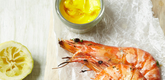 Barbequed Tiger Prawns with Saffron Aioli